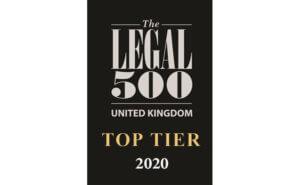 Legal 500 - Top Tier 2020